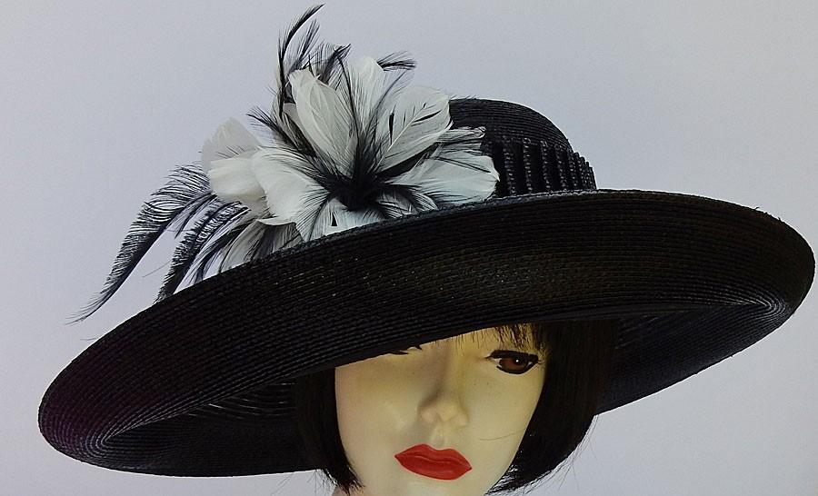 b2222c6a002 Black Designer Hat-Feathers