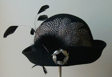 Black Cloche/ Guinea Feather