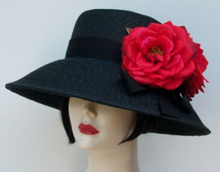 """Black 4"""" Picture/Red Rose"""
