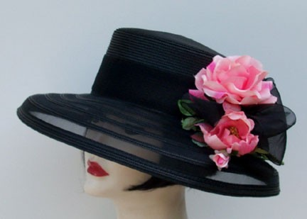 Black Sheer Down/Pink Rose