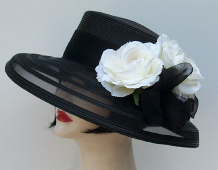 Black Sheer Down/White Rose