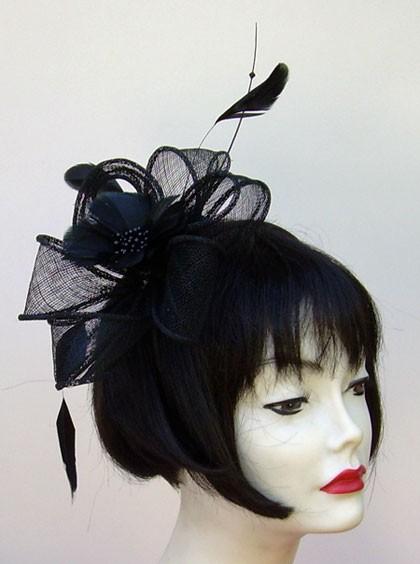 Black Feather Flower Fascinator