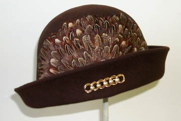 Brown Cloche/ Pheasant Feather