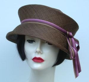 Travel Hat-Brown-Mauve Ribbon