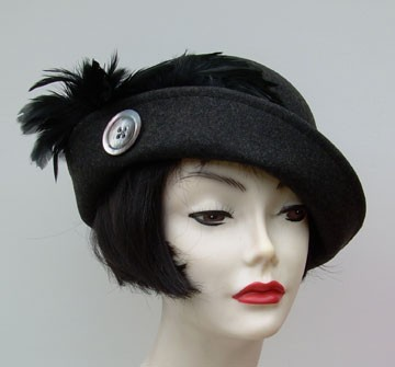 Charcoal Grey Cloche/ Button