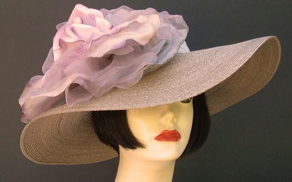 """Grey Milan 5"""" Brim/XL Grey Lavender Rose"""