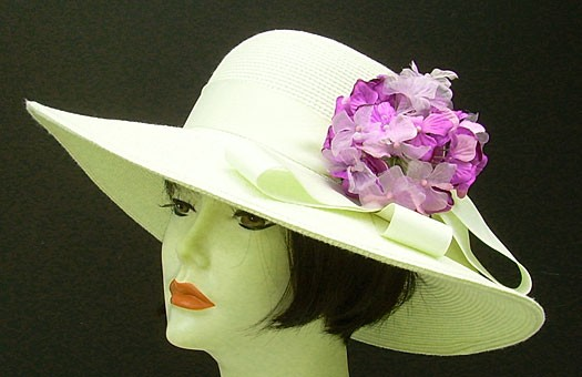 "Ivory 4"" Picture Hat/ Lavender Hydrangea"
