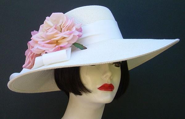 "Ivory 5"" Brim/Pale Pink Roses"
