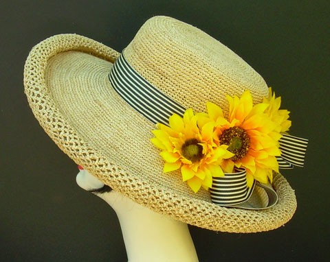 Natural Raffia/Stripe/Sunflowers