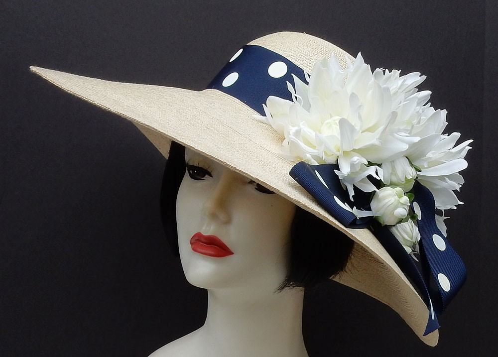 "Natural 5.5"" Brim-Navy-White"
