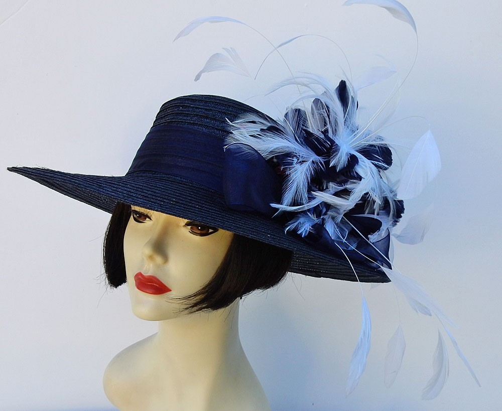 Navy-White-Feather-Dress-Hat