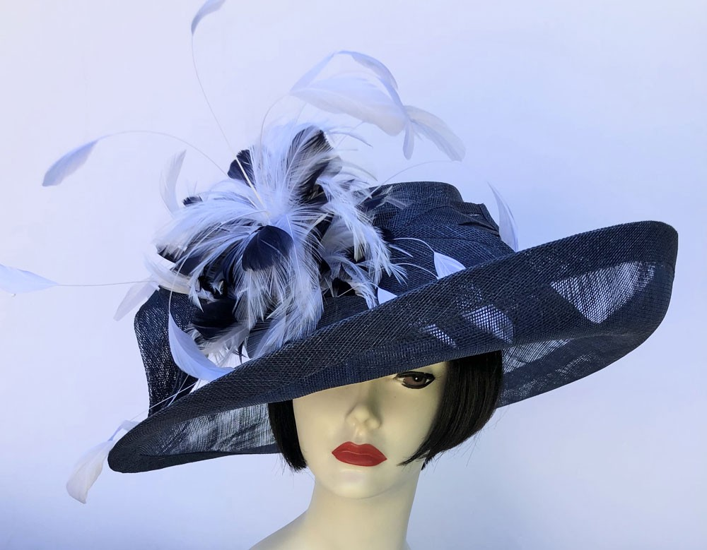Navy Large Off-Face Hat-Feathers