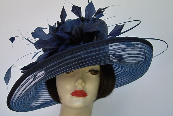 "Navy Sheer 6"" Brim/Feathers"
