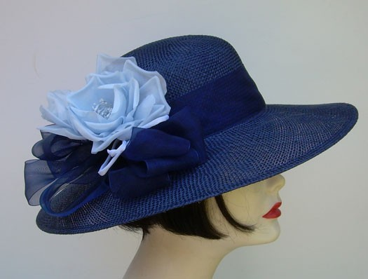 """Navy 4"""" Sisal Picture/Blue Rose"""