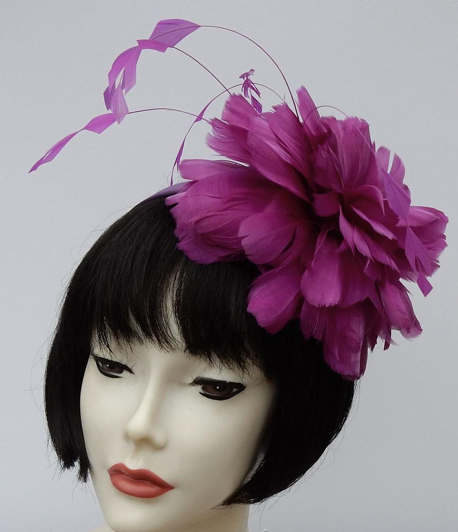 Purple Fascinator-Feathers