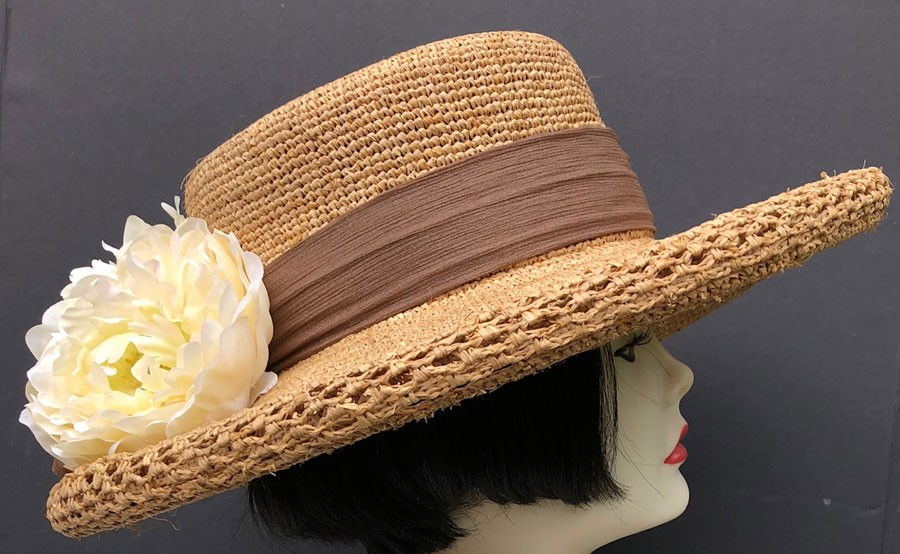 Raffia Straw Hat - Flowers