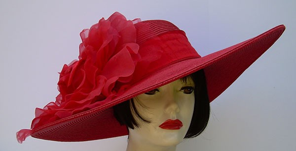 "Red 6"" Brim/XL Red Rose"