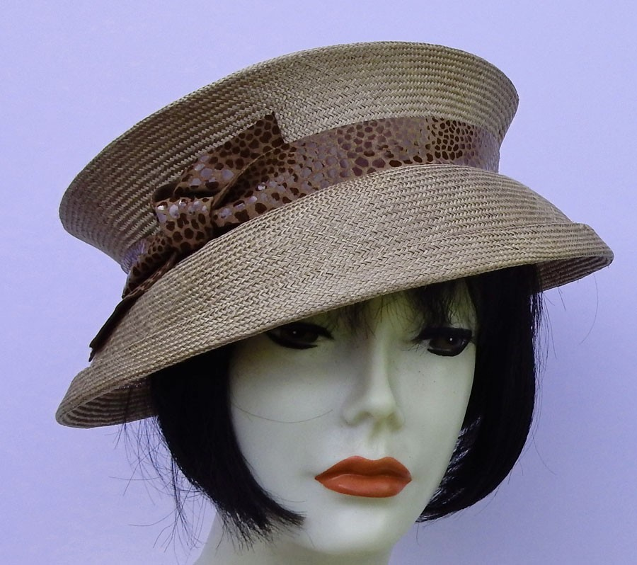 Taupe Travel Hat-Leather