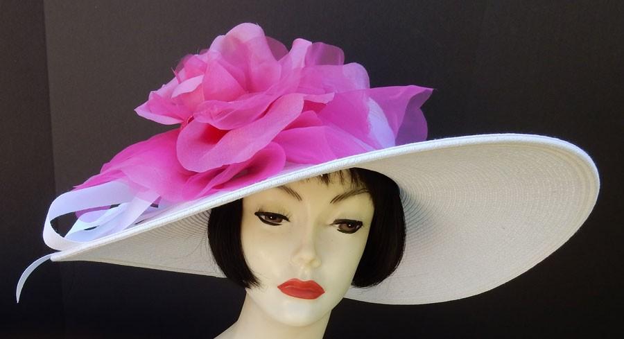 """White Hat 6"""" Brim-Pink Rose"""