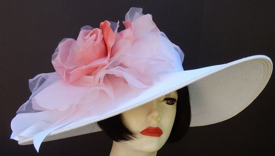 "White 6"" Brim- XL Coral Rose"