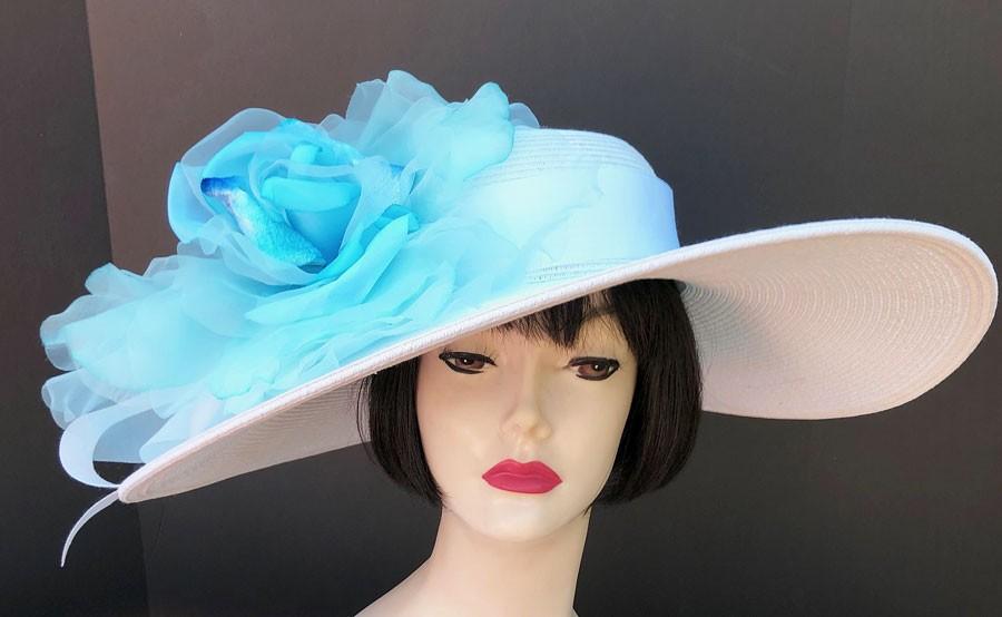 White Derby Hat-Light Blue Rose