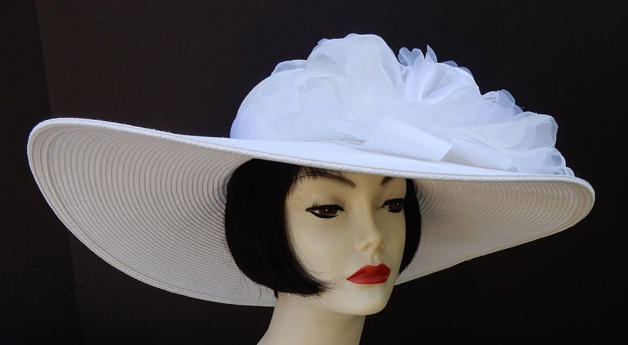 "White Derby Hat-6"" brim"