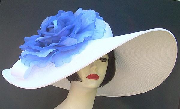 "White 8"" Brim/XL Blue Rose"