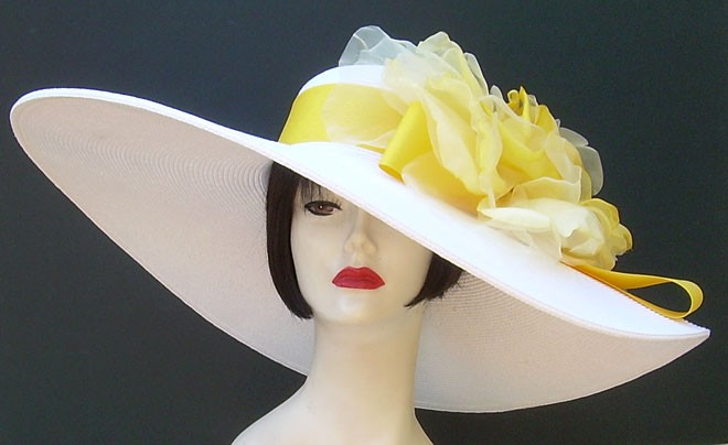 "White 8"" Brim/Yellow Rose"