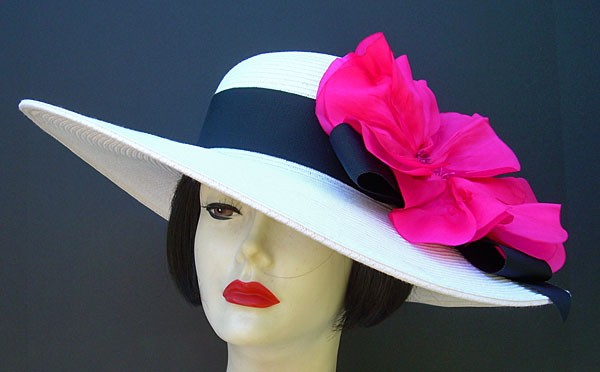 "White 6"" Brim/Pink Poppy"