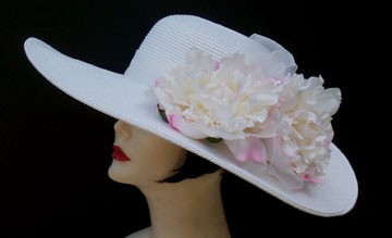 """White 5"""" Brim Picture Hat /White Peony"""
