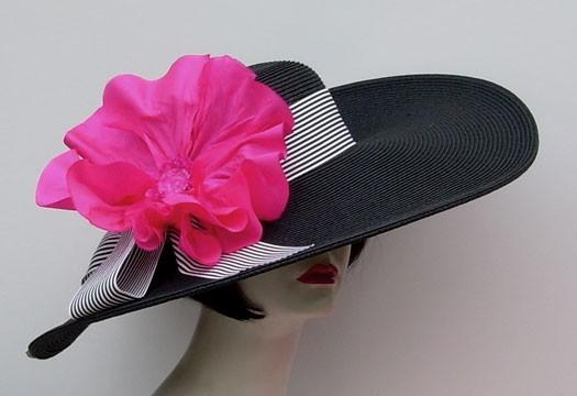 "Black 5""-6"" Brim/ Stripe/ Pink Poppy"