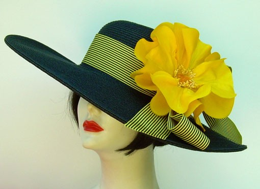 "Black 5"" Brim /Yellow Stripe/ Poppy"
