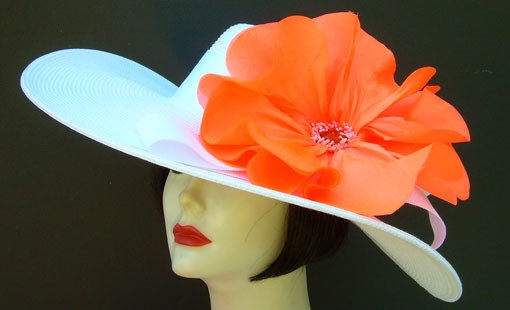 "Ivory 6"" Brim /Orange Poppy"