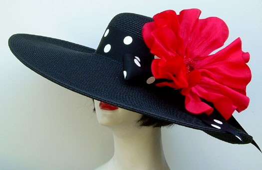 "Black 6"" Brim /Dot/ Red Popp"