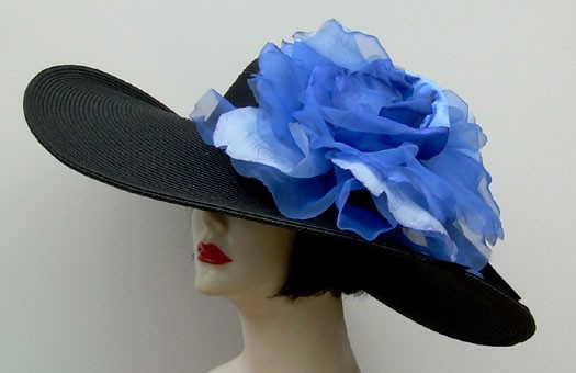 "Black 5""-6"" Brim/ XL Blue Rose"