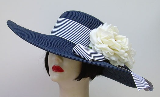 "Navy 5"" Brim/Stripe/White Rose"