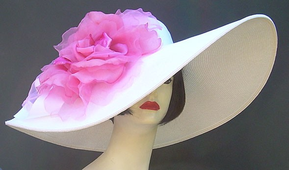"White 5"" - 8"" Brim/XL Pink Rose"