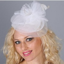 White Net Fascinator