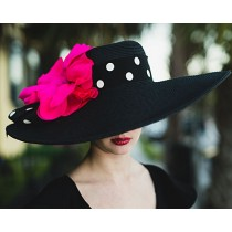 "Black 6"" Brim /Pink Poppy/DOT RIBBON"