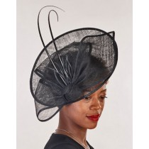 Black Large Fascinator-Feather