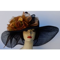 Black-Tan Large Brim-Roses
