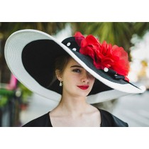 "Black-White 8"" Brim/XL Red Rose"