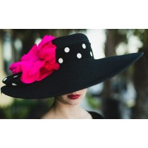 Black Derby Hat 5-6 Brim-Pink Poppy