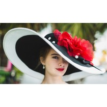 Black White 8 Derby Hat-Red Rose