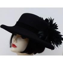 Black Gambler Down Brim-Black Feather