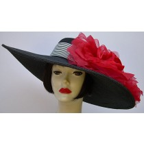 "Black 6""  Brim/ XL Red Rose/ Stripe Ribbon"