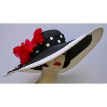 "Black/White 8"" Brim/Red Poppy"