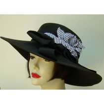 "Black 4"" Brim Hat/ Check Rose"