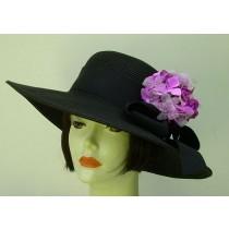"Black 4"" Brim Picture Hat/Lavender Hydrangea"