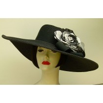 "Black 6"" Brim/Lace Rose"